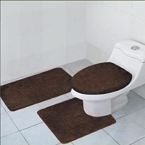Fine 3 Piece Quinn Solid Bathroom Accessory Set Bath Mat Contour Rug Toilet Lid Cover Brown Gmtry Best Dining Table And Chair Ideas Images Gmtryco