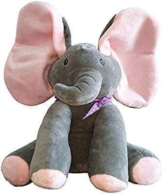 Pink Peek A Boo Elephant Plays and Sings while flapping its ears to Delight Baby