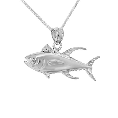 Sterling Silver Tuna Fish Charm / Pendant, Made in USA, 18