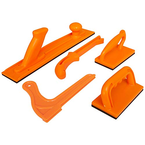 (Safety Woodworking Push Block and Push Stick Package 5 Piece Set In Safety Orange Color, Ideal for Woodworkers and Use On Table Saws, Router Tables, Jointers and Band)