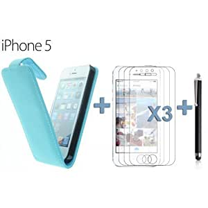 OnlineBestDigital - Premium Leatherette Wallet Stand Case for Apple iPhone 5S / Apple iPhone 5 - Blue with 3 Screen Protectors and Stylus