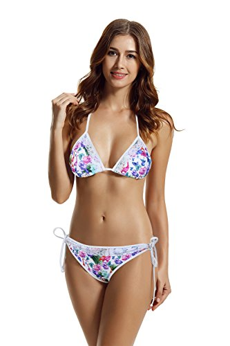 zeraca Women's Tie Side Pantie Lace Tria - Leopard Tie Side Bikini Shopping Results