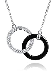 Jinlou Mother Daughter Necklace - 925 Sterling Silver Two Interlocking Infinity Double Circles Ceramic Pendant Necklaces for Mothers Day Jewelry Birthday Gift