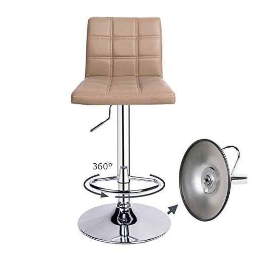 Kitchen Leader Modern Square Back Bar Stools, Adjustable Swivel Bar Stool Set of 2, Bar Chair with Back (Khaki) modern barstools