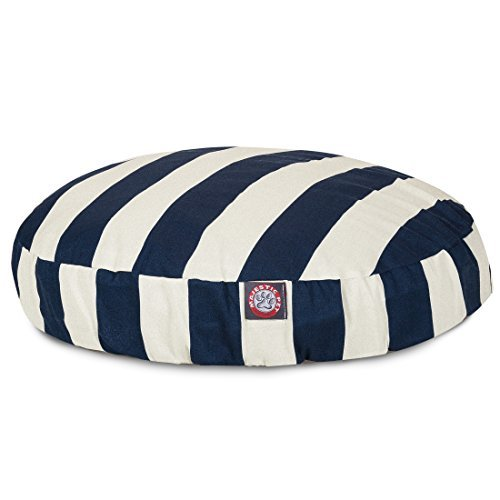 Navy Blue Vertical Stripe Large Round Indoor Outdoor Pet Dog Bed With Removable Washable Cover By Majestic Pet Products by Majestic Pet by Majestic Pet