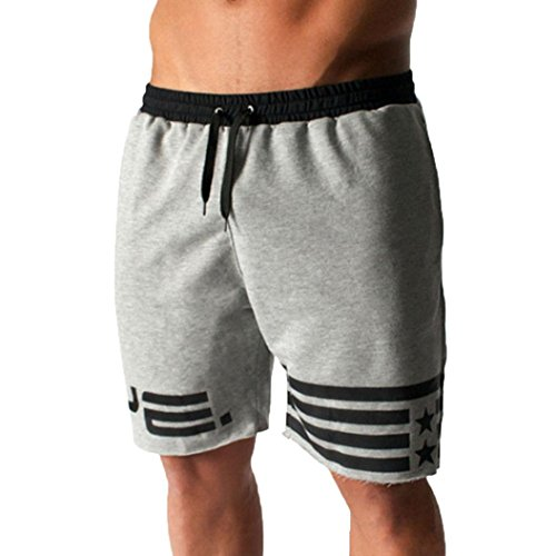 Goodtrade8® Clearance Sale! Plus Size Men Sweatpants Boy Cotton Blend Shorts Jogger Gyms Short Pants Casual Sport Trunks with Cord (L, Gray)