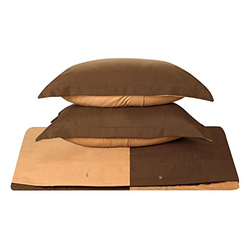 Clara Clark Reversible Two Color Duvet Cover Set, Full Size, Chocolate Brown / Mocha Cappuccino Colors - Highest Quality 1800 Brushed Microfiber, Better than Cotton Super Soft, Silky Cozy, Plush and Breathable, Wrinkle, Stain and Fade Resistant Hypoallergenic Fabric - Set Includes Luxury Button Closure Duvet Cover and Pillow Shams with a Stylish Flange