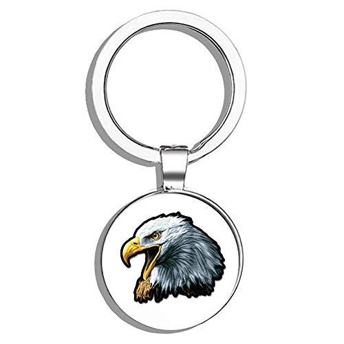Eagle Bald Keychain (HJ Media Bald Eagle Metal Round Metal Key Chain Keychain Ring)