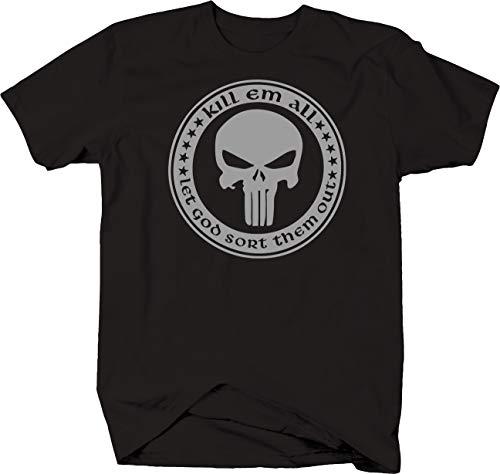 - Stealth - Kill Em All Let God Sort Them Out Punisher Skull T shirt - 5XL