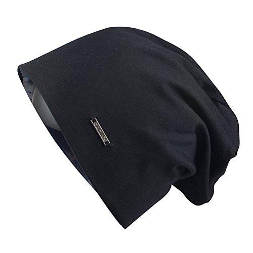 CACUSS Baggy Skull Cap Thin Cotton Stretch Beanie Summer Sprort Hat (B0094 Black)