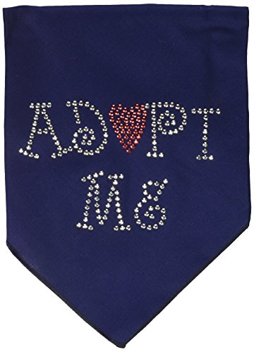 Mirage Pet Products Adopt Me Rhinestone Bandana, Large, Navy Blue