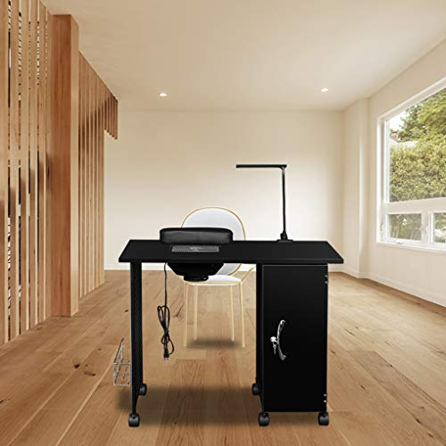 Topfire Manicure Nail Table Station Steel Frame Beauty Salon Equipment Drawer with LED Lamp ()