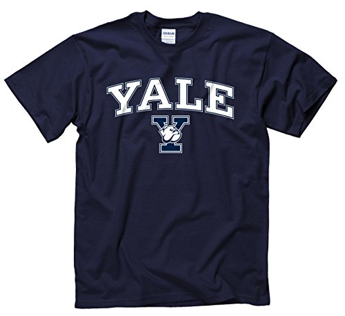 Campus Colors Yale Bulldogs Arch   Logo Gameday T Shirt   Navy  X Large