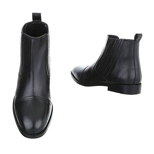 Stiefeletten Leder Herrenschuhe Chelsea Boots Blockabsatz Blockabsatz Ital-Design Boots Schwarz