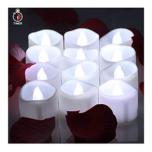 OMGAI LED Tea Lights Candles With Timer Battery Operated Candle Unscented Flameless Flickering Electric Tealight, 60+ Hours of Lighting for Home Decor, Set of 12 - Cool White by OMGAI