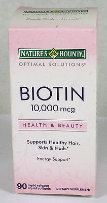 Nature's Bounty Optimal Solutions Biotin 10,000 mcg 90 Rapid Release Liquid Softgels