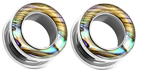 Zaya Body Jewely Pair of Steel Abalone Shell Screw Fit Surgical Steel Tunnels Ear Plugs Gauges 0g 00g 1/2 inch (0g 8mm)
