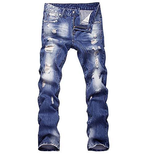 Classiche A Ragazzi Uomo Cotone Da Confortevoli Morbidi Vita Colour Pantaloni Jeans Di Bassa Ssig Strappati O1xcqWY04