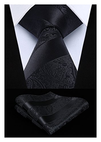 HISDERN Extra Long Floral Paislry Tie Handkerchief Men's Necktie & Pocket Square Set,Black,XL, 63 inches ()