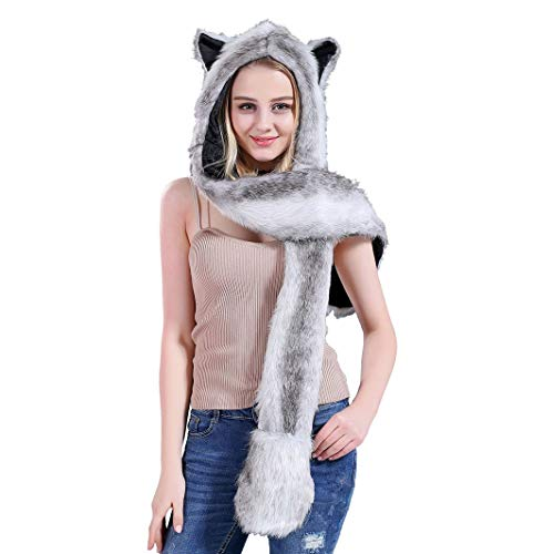 IronBuddy Faux Fur Hat Headband, Scarf Gloves 3-in-1 Furry Hoodie with Paws Ears Animal Hoodie for Women Teen-Girls (Grey & White) (Animal Hats For Women)
