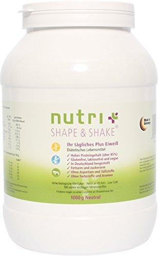 Nutri-Plus Shape & Shake Glutenfrei-Vegan Neutral 1kg - Glutenfreies Protein ohne Aspartam, Süßstoffe, Milcheiweiß & Laktose