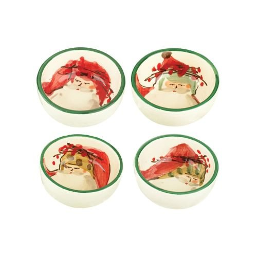 Vietri Old St. Nick Condiment Bowl, Handcrafted Christmas Tableware, Set of 4