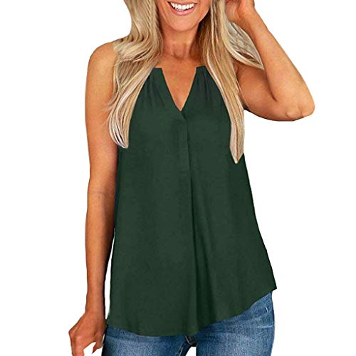 Dressin Womens Summer T Shirt Flowy Loose Blouse Solid Tees Top V-Neck Chiffon Tank Tops for Women Green