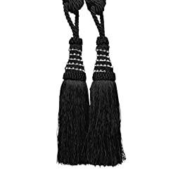 Textiles Plus Diamond Tassel Curtain Tieback, Black