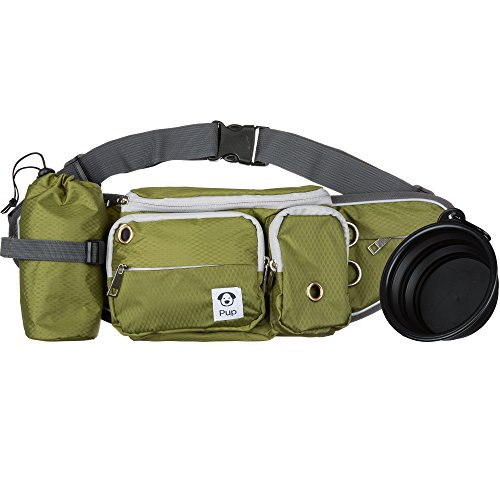 Dog Walk Waist Fanny Pack Treat Pouch with Collapsible Water Bowl and Water Bottle Holder- Small/Medium Dogs (Olive Green)