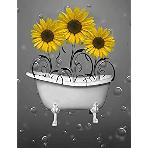 "Yellow Gray Sunflowers Bathroom Wall Art, Yellow Decorative Wall Decor, 8""x10"" with 11""x14"" White Mat, Littlepiecreations Original Photo Artwork USA Handmade Wall Art Matted Pictures 46"