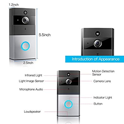 LeadTry Wireless Wi-Fi Video Doorbell, 720P HD Wifi Security Camera Built-in 8G Memory Card, PIR Motion Detection, Real-Time Two-Way Talk and Video, Night Vision, and App Control for IOS and Android