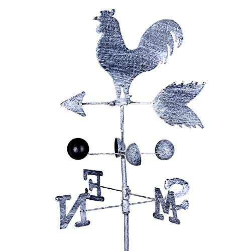 Vintage Old Cock Weather Vane Metal Iron Wind Speed Rotation Direction Indicator Garden Terrace Garden Decoration Traditional Iron Cock Weather Vane - Height 120 cm