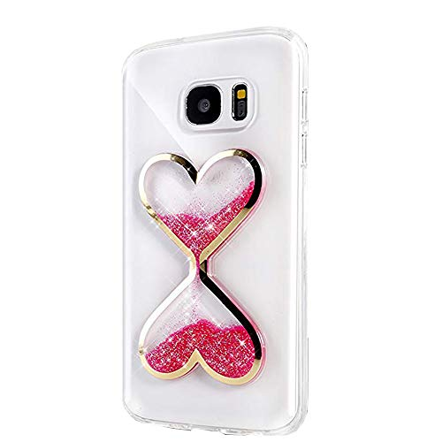 Urberry Glaxy S7 Case, Running Glitter Cover, Pink Sparkle Love Heart, Creative Design Flowing Liquid Floating Luxury Bling Glitter Sparkle Hard Case for Samsung Galaxy S7 with a Screen Protector