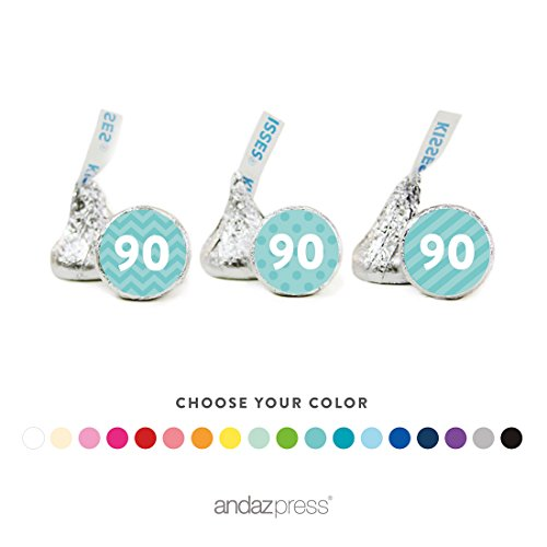 Andaz Press Chocolate Drop Labels Trio, Milestone Collection Numbers, 90th Birthday, Anniversary, Reunion, 216-Pack, Choose Your Color, Fits Hershey's Kisses Party Favors, Decorations]()