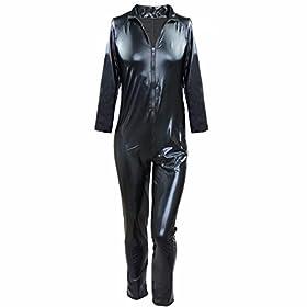 - 41z3nzpNVoL - FEESHOW Men's Wet Look PVC Leather Like Zipper Catsuit Jumpsuit Costumes