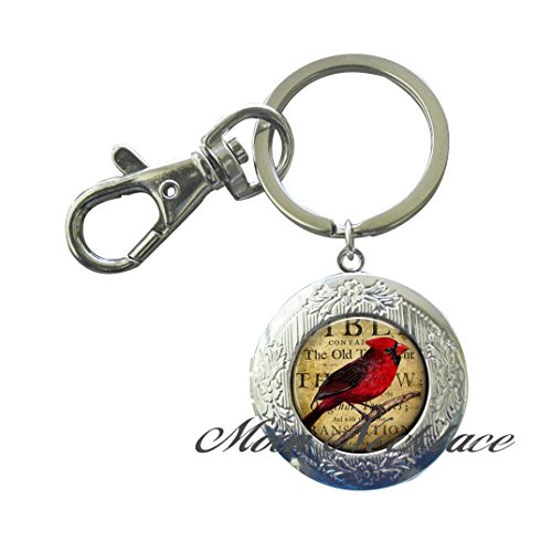 Charm Locket Keychain,Redbird Locket Keychain, Redbird Locket Key Ring jewelry Locket Key Ring Cardinal Locket Key Ring bird lover gift symbolic jewelry,Fashion jewelry birthday,photo Jewelry-ZE089 - Louis Cardinals Stone