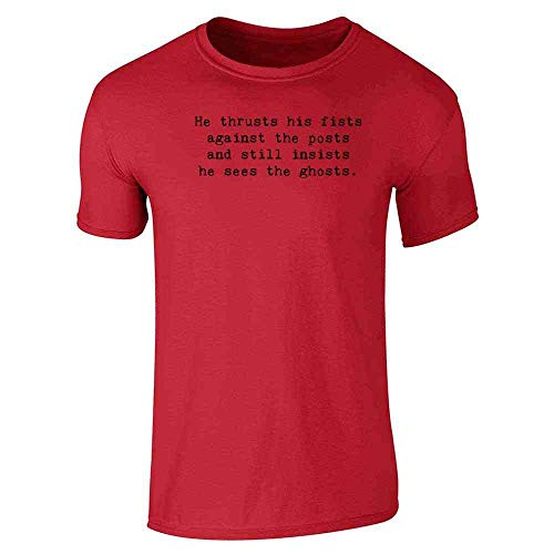 He Thrusts His Fists Against The Posts. Short Sleeve T-Shirt Red