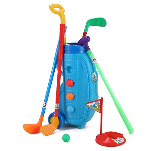 Deluxe Kid's Happy Golfer Toy Golf Set w/ 3 Golf Balls, 3 Types of Clubs, 2 Practice Holes, Perfect Golf Set for