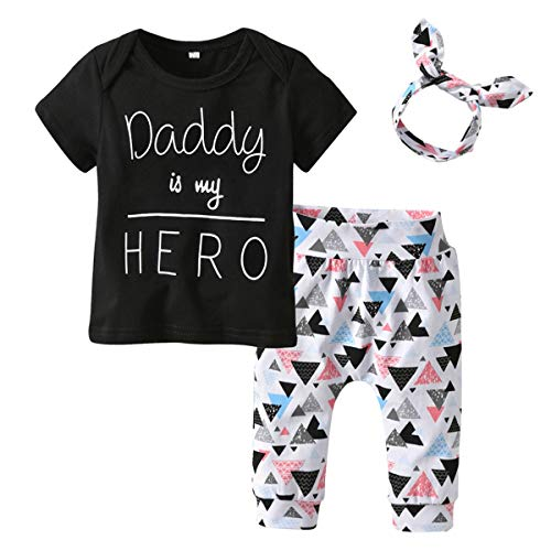 puseky 3pcs/Set Infant Toddler Baby Boy Girl Clothes Daddy is My Hero T-Shirt Tops+Triangle Pants+Headband Outfits Set (Color : Black, Size : -