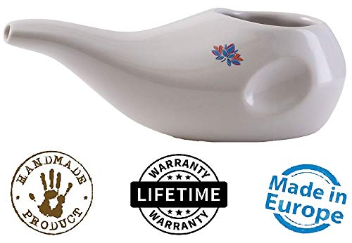 Sattvic Path Best Rated Ceramic Neti Pot - Ergonomic Design and Hand-Made, Dove White