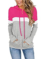 ELF QUEEN Women's Spring Summer Fall Long Sleeve Hooded T Shirt Top Comfy Non See Through Casual Drawstring Pullover Hoodies