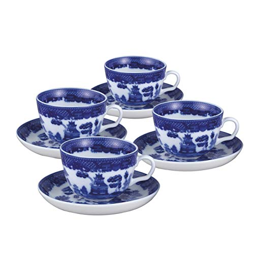 Blue Willow Cup - HIC Harold Import Co. YK-321 HIC Blue Willow Cups and Saucers Set, Fine White Porcelain
