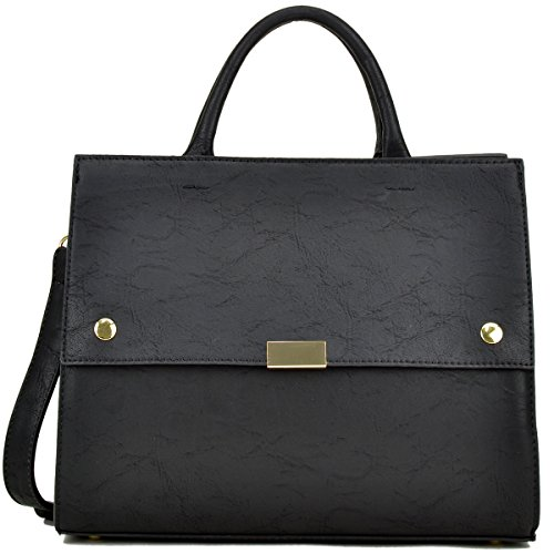 Dasein Handbag for Women Classic Satchel Briefcase Shoulder Bag Designer Purse (Black)