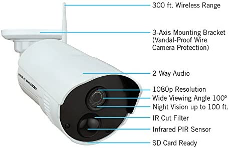 Night Owl Security Add-on Indoor/Outdoor Wireless 1080p AC Powered Camera, White (CAM-WNR2P-OU) 41z3pAA6gyL
