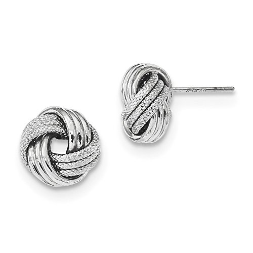 FB Jewels Solid 14K White Gold Polished Textured Love Knot Post Earrings