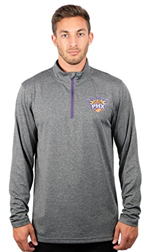 NBA Phoenix Suns Men's Quarter Zip Pullover Shirt Athletic Quick Dry Tee, Large, Charcoal -
