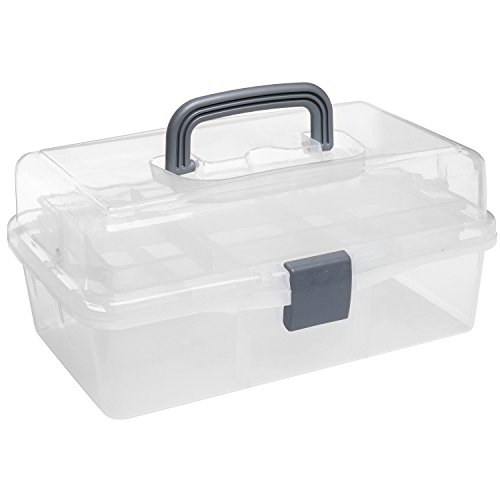 MyGift Plastic 2 Tier Trays Craft Supply Storage Box/Firstaid Carrying Case w/Top Handle & Latch Lock (Best Tackle Box For Makeup)