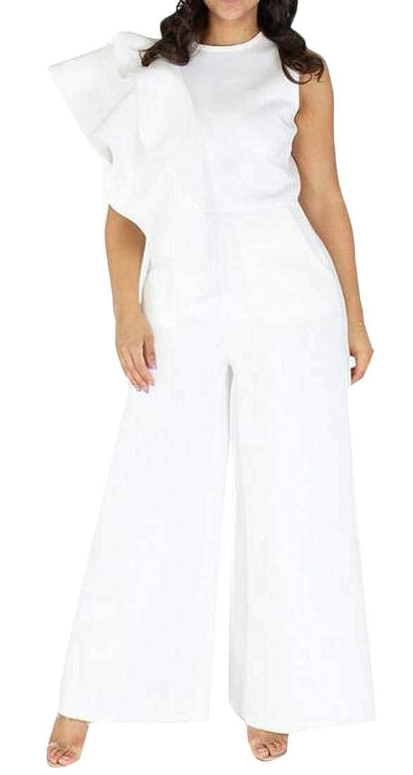 Bravepe Women Plain Wide Leg Palazzo Lounge Pants Ruffle High Rise Plus Size Jumpsuit Romper