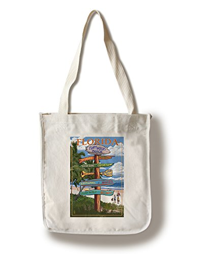 Sign Destinations - Fort Myers Beach, Florida (100% Cotton Tote Bag - Reusable, Gussets, Made in America)