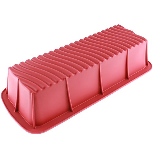 Freshware CB-103RD 12.5-inch Large Silicone Mold/Loaf Pan for Soap and Bread - 1 PC